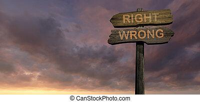 richtung recht, -, falsche , zeichen
