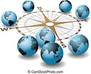 richtungen, erde, kompaß, global, punkte