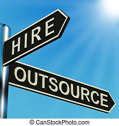 richtungen, wegweiser, mieten, outsource, oder