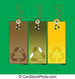 riciclaggio, 3, set, etichette, illustrazione, vendita