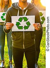 riciclaggio, affissi, presa a terra, volontari, simbolo, squadra, esterno