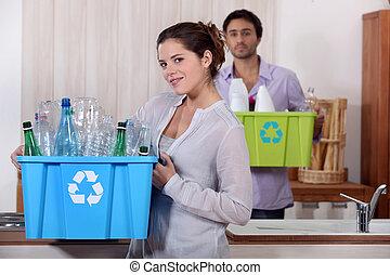 riciclaggio, bottiglie, plastica