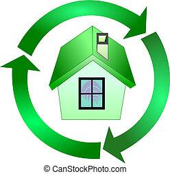 riciclaggio, casa, ecologia, verde, segno