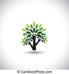 riciclaggio, eco, albero, mano, con, foglie, porzione,...