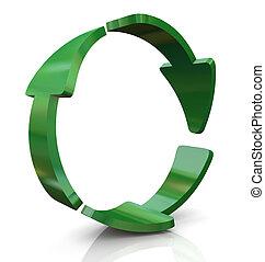 riciclare, 3d, icona