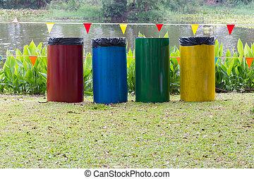 riciclare, bidoni, giardino, colorito