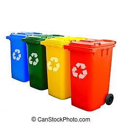 riciclare, colorito, bidoni, isolato