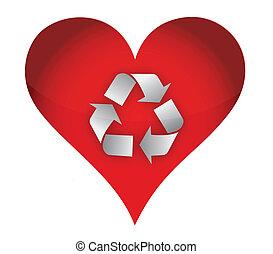 riciclare, concetto, amore