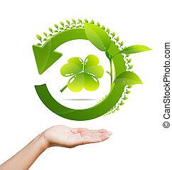 riciclare, donne, logotipo, verde, mano