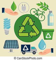 riciclare, ecologico, protezione, etichetta, segno