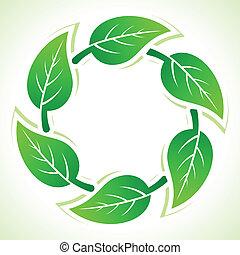 riciclare, foglie, fare, icone