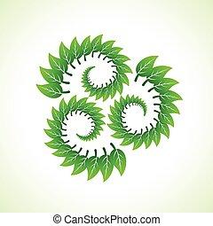 riciclare, foglie, verde, fare, icona
