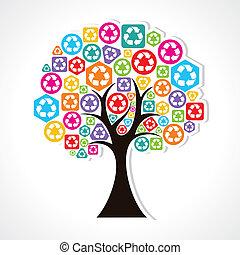 riciclare, formare, albero, icone