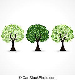 riciclare, formare, set, albero, icona