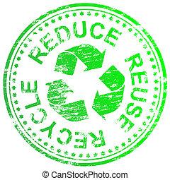 riciclare, francobollo, ridurre, riutilizzare