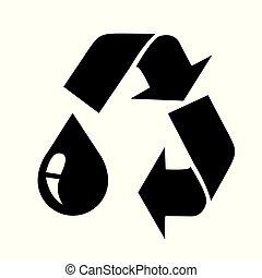riciclare, goccia, olio, nero, segno
