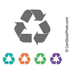 riciclare, icon., vettore, simbolo.