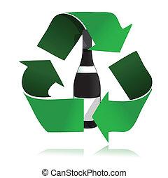 riciclare, icona, bottiglia, vetro