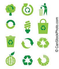 riciclare, icona, set