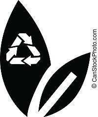 riciclare, icona, stile, foglia, semplice