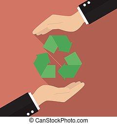 riciclare, mani, presa a terra, icona