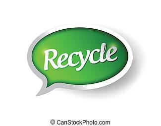 riciclare, messaggio, disegno, illustrazione