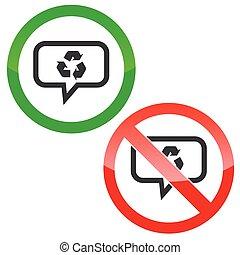 riciclare, messaggio, permesso, segni