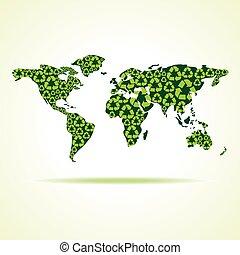 riciclare, mondo, fare, icone, mappa