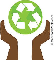 riciclare, segno mano