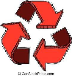 riciclare, segno, scarabocchiare, rosso