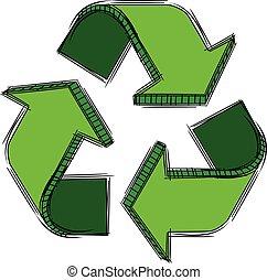 riciclare, segno, scarabocchiare, verde