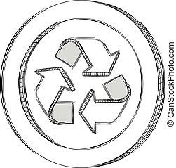 riciclare, segno, scarabocchiare