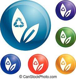riciclare, set, foglia, vettore, icone