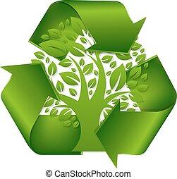 riciclare simbolo, albero