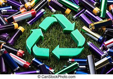 riciclare simbolo, verde, vista elevata
