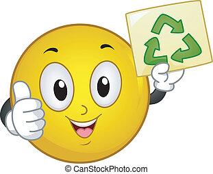 riciclare, smiley, segno