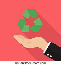 riciclare, titolo portafoglio mano, icona