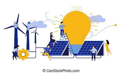 riciclare, uomo, design., ecologia, costruzione, tecnologia, eco, concetto, pannello, illustration., natura, città, save., pulito, giorno, ambiente, terra, pianeta, energia, solare, vento, paesaggio, vettore, mulino vento, turbina, donna