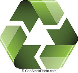 riciclare, vettore, icona