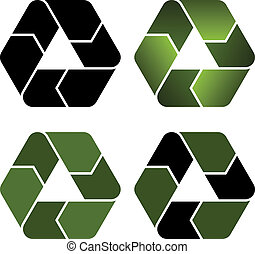 riciclare, vettore, icone