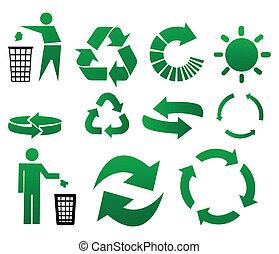 riciclare, vettore, segni