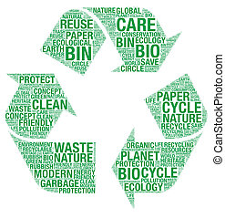 riciclare, wordart, simbolo, vettore