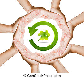 ricicli logotipo, mano, donne