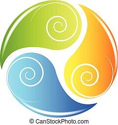 ricicli logotipo, salute, mette foglie, natura