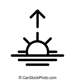 ricing, linear, sol, esboço, manhã, vetorial, pretas, sol, icon., branca, amanhecer, illustration.