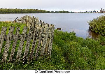 rickety, 修道院, 風景, 湖, horizon., フェンス