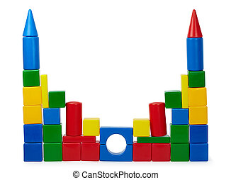 Rickety castle of color cubes