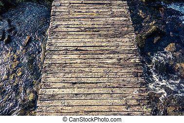 Rickety Footbridge Over Stream - Conceptual Image Of A ...