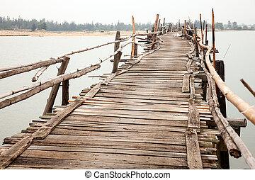 Rickety wooden bridge - Unstable rickety bridge in Vietnam