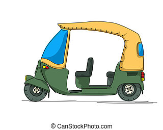 Rickshaw cartoon over white background
